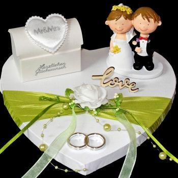 Geld Geschenk zur Hochzeit - mit Brautpaar auf Herz - grün weiß silber