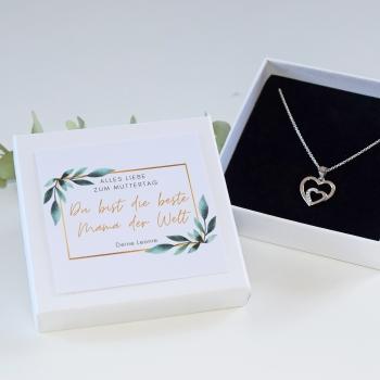 Personalisierte Schmuck Geschenkbox mit Herz Kette in 925 silber mit 7 Zirkonia Steinen zum Muttertag