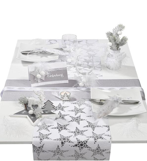Tischdeko Weihnachten Silber Grau Weiss