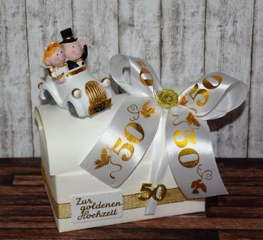 geldgeschenk zur goldenen hochzeit geschenkbox mit auto. Black Bedroom Furniture Sets. Home Design Ideas