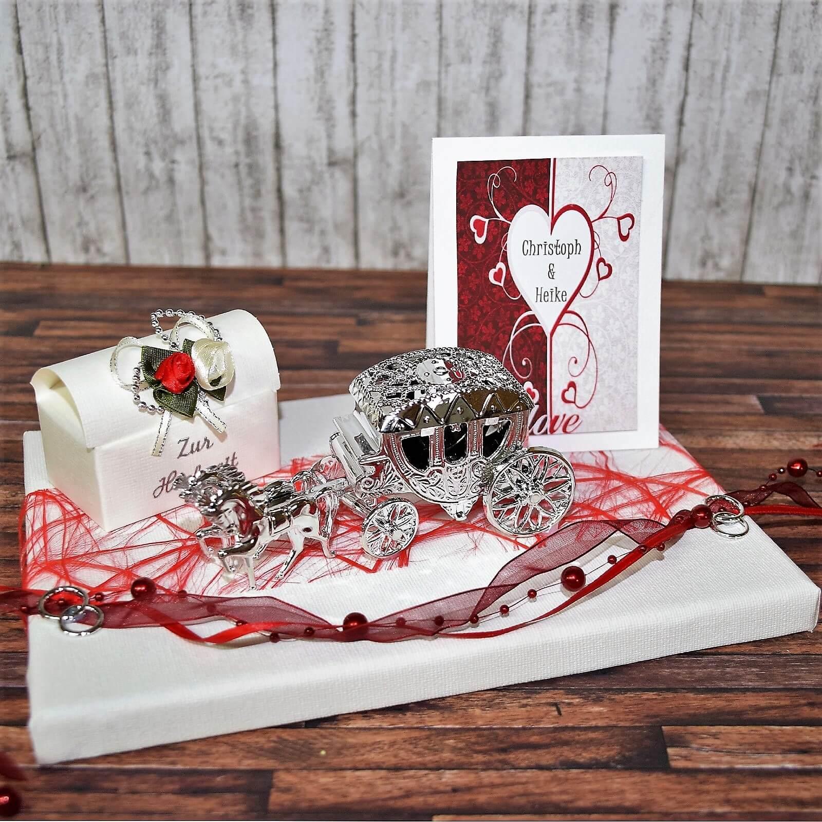 Geldgeschenk zur Hochzeit *Hochzeitskutsche mit Namen des