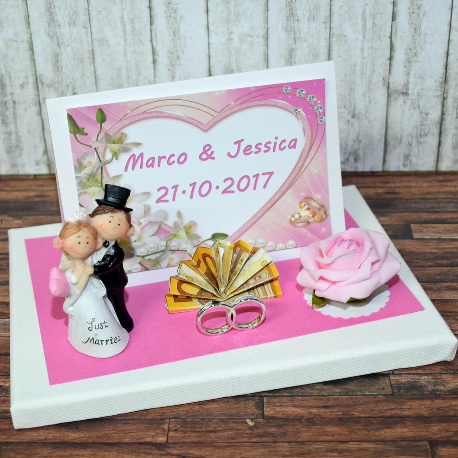 geldgeschenk zur hochzeit rosa personalisiert mit gl ckwunschkarte. Black Bedroom Furniture Sets. Home Design Ideas
